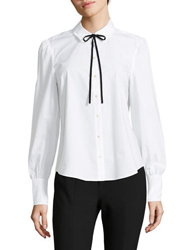 Joie Adebola Cotton Button-Down Shirt-WHITE-Medium