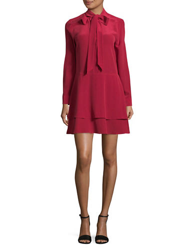 Equipment Natalie Tie-Neck Silk Dress-RED-X-Small