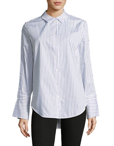 Equipment Rossi Bee Striped Cotton Button-Down Shirt-WHITE-Medium
