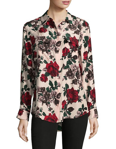 Equipment Floral Silk Button-Down Shirt-PINK-Large