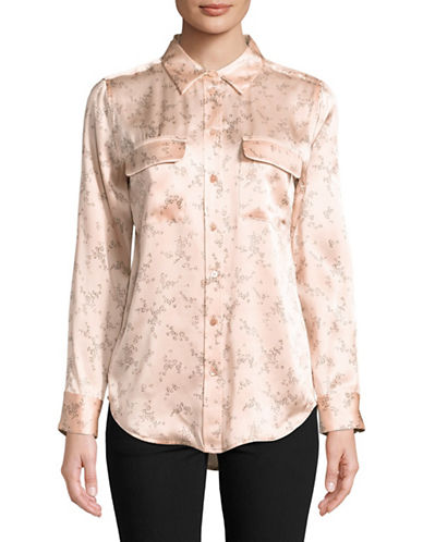 Equipment Floral-Print Silk Blouse-PINK-Medium