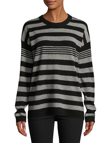 Equipment Bryce Striped Cashmere Sweater-GREY-Large