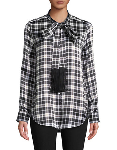 Equipment Plaid Tie-Neck Silk Blouse-BLACK-X-Small