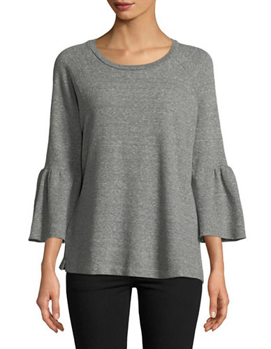 Current Elliott Ruffle-Sleeve Top-GREY-Small