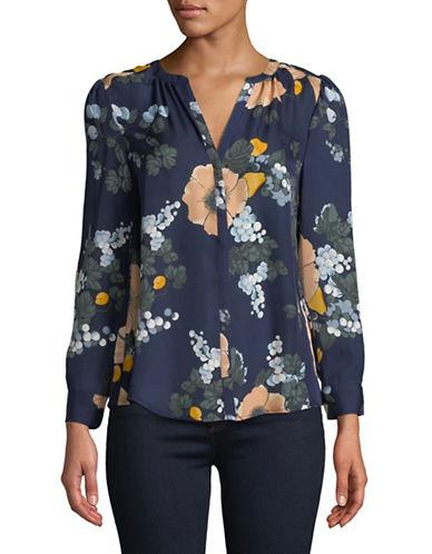 Joie Amarant Silk Floral Blouse-NAVY-X-Small