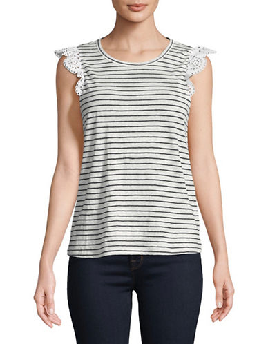 Joie Acenath Striped Tee-PORCELAIN-Small