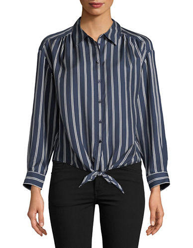 Joie Adiba Striped Silk Shirt-DARK NAVY-X-Small