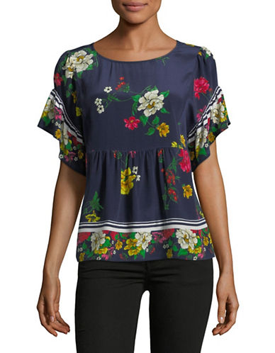Joie Ayako Floral Silk Blouse-DARK NAVY-Small