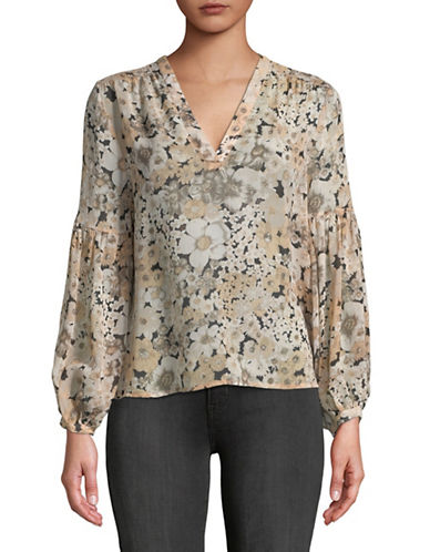 Joie Ardelle Silk Floral Blouse-BEIGE-X-Small