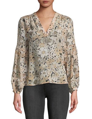 Joie Ardelle Silk Floral Blouse-BEIGE-Large