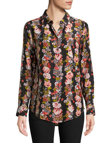 Equipment Essential Botanical Garden Silk Button-Down Shirt-BLACK-Small