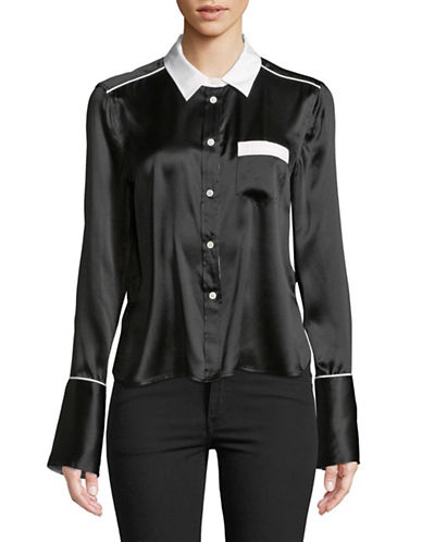 Equipment Huntley Silk Button-Down Shirt-BLACK-Large
