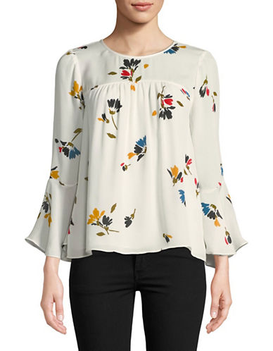 Joie Awilda Floral Silk Blouse-PORCELAIN-Large