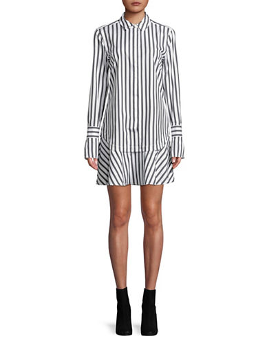 Equipment Daphne Striped Cotton Shirtdress-WHITE-Large