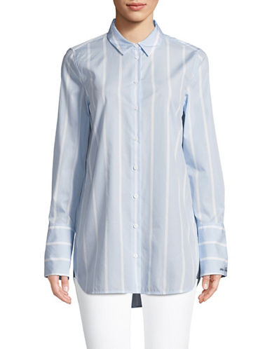 Equipment Cotton Striped Shirt-LIGHT BLUE-Large