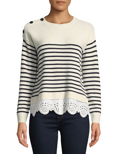 Joie Aefre Striped Twofer Wool-Blend Sweater-PORCELAIN-X-Small
