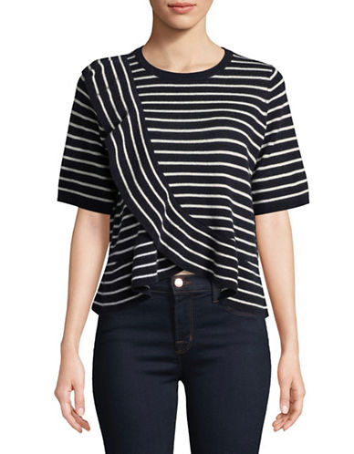 Joie Jaynie B Ruffle Stripe Wool-Blend Top-NAVY-Large