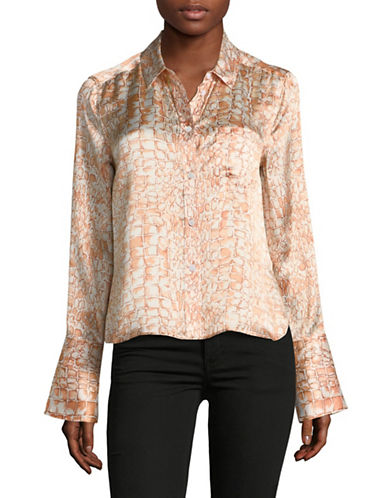 Equipment Huntley Crocodile Silk Button-Down Shirt-BEIGE-X-Small