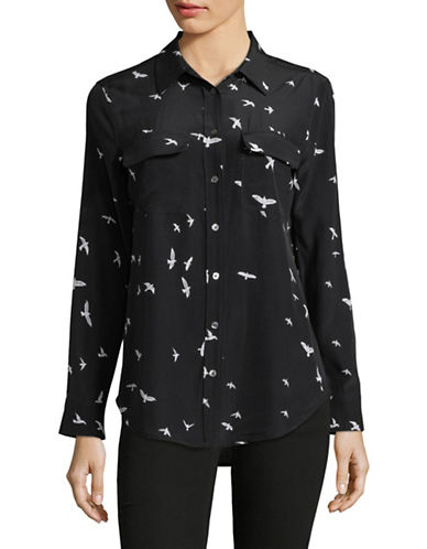 Equipment Silk Raven Blouse-BLACK-Large