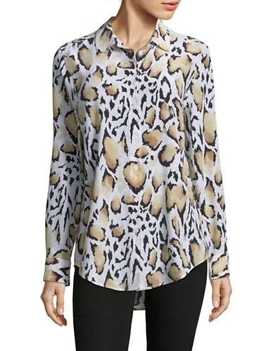 Equipment Silk Leopard Blouse-WHITE-Medium