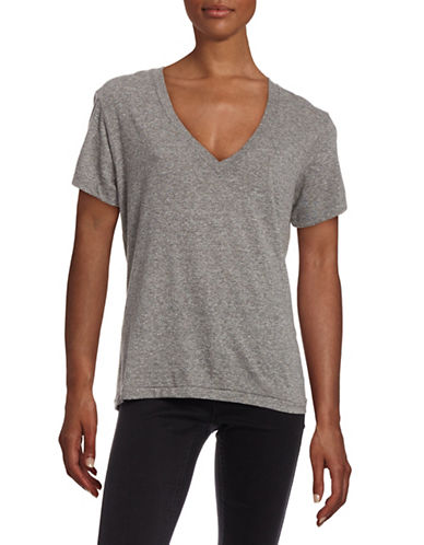 Current Elliott The V-Neck Tee-HEATHER GREY-X-Small