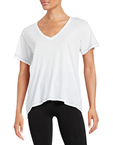 Current Elliott Deep V-Neck Tee-WHITE-0