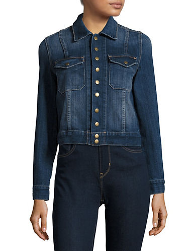 Current Elliott Snap Denim Jacket-BLUE-X-Small