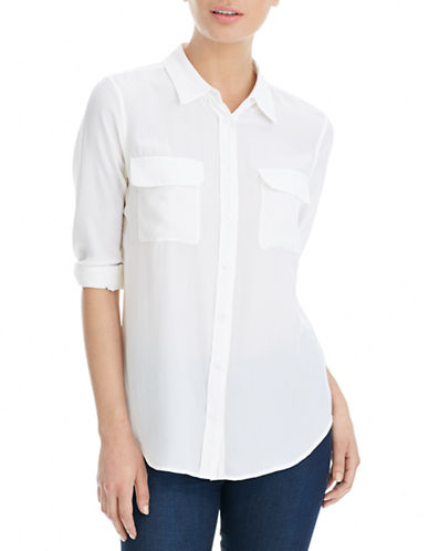 Equipment Slim Signature Blouse-WHITE-Large