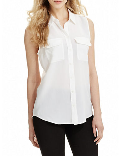 Equipment Silk Sleeveless Top-WHITE-Large