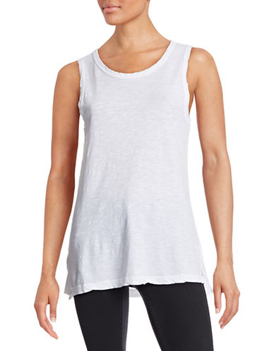 Current Elliott Slub Knit Sheer Muscle Tank-WHITE-Large