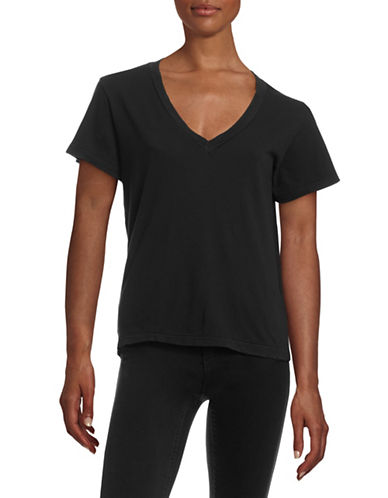 Current Elliott Slub Knit V-Neck Tee-BLACK-1