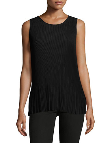Lord & Taylor Pleated Chiffon Tank-BLACK-Large 88881117_BLACK_Large