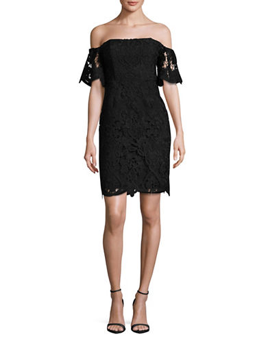 Rsvp By Bb Dakota Lace Off-The-Shoulder Dress-BLACK-4