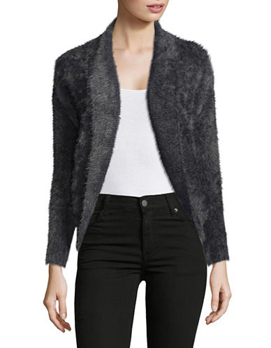 Design Lab Lord & Taylor Fuzzy Cocoon Cardigan-GREY-Small