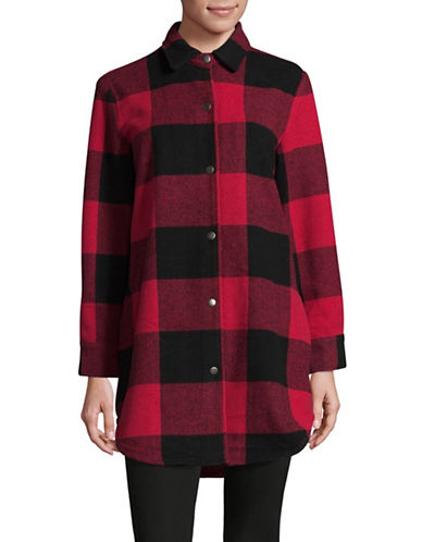 Design Lab Lord & Taylor Buffalo Check Shirt Jacket-RED-Small