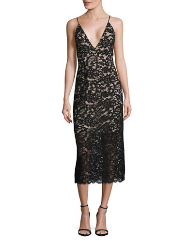 Rsvp By Bb Dakota Lace Midi Dress-BLACK-2