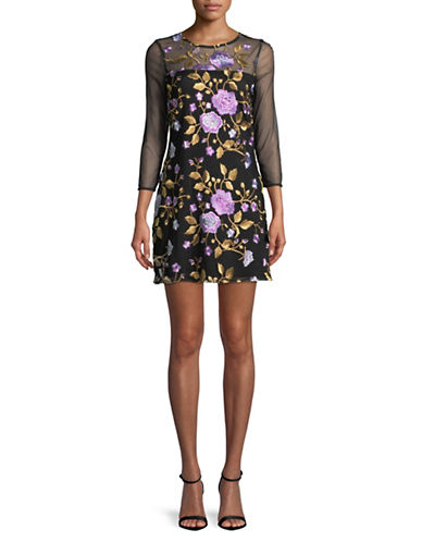 Jack By Bb Dakota Embroidered Mesh Shift Dress-BLACK MULTI-Medium