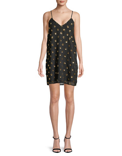 Jack By Bb Dakota Sequin Dot Slip Dress-BLACK-Small