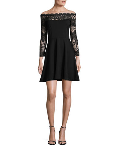 Bb Dakota Lace Ponte Fit-and-Flare Dress-BLACK-2