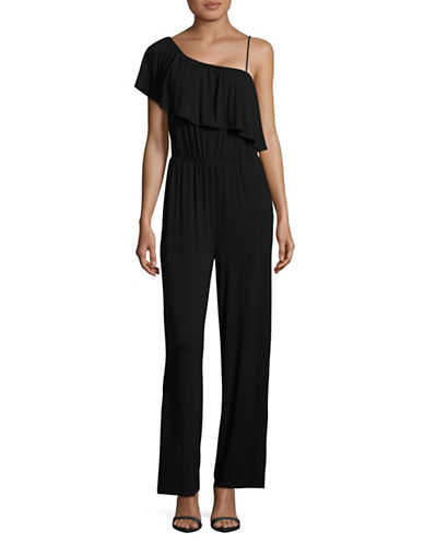 Bb Dakota One-Shoulder Ruffle Jumpsuit-BLACK-X-Small