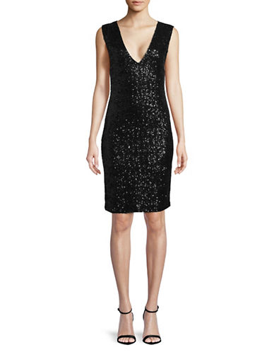 Rsvp By Bb Dakota Embellished Sheath Dress-BLACK-Medium