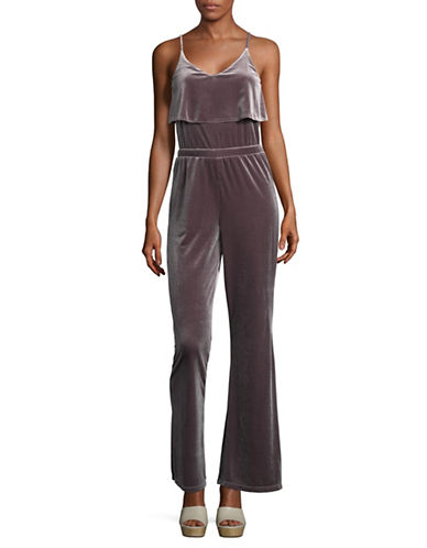 Jack By Bb Dakota High-Waist Layered Velvet Jumpsuit-SILVER-Medium
