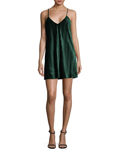 Jack By Bb Dakota Pleated Velvet Slip Dress-GREEN-Large
