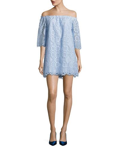 Bb Dakota Halden Off-Shoulder Lace Dress-BLUE-Medium