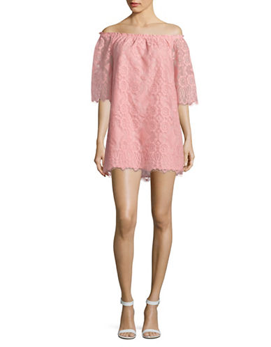 Bb Dakota Halden Off-Shoulder Lace Dress-ROSE-Medium