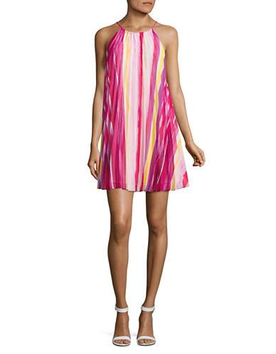 Bb Dakota Printed Pleated Chiffon Trapeze Dress-GLOW-Small