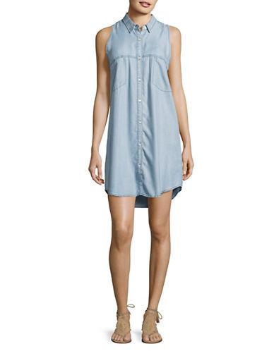 Bb Dakota Sleeveless Denim Shirt Dress-BLUE-Medium