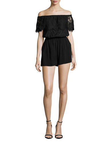Bb Dakota Lace Off-The-Shoulder Romper-BLACK-Medium