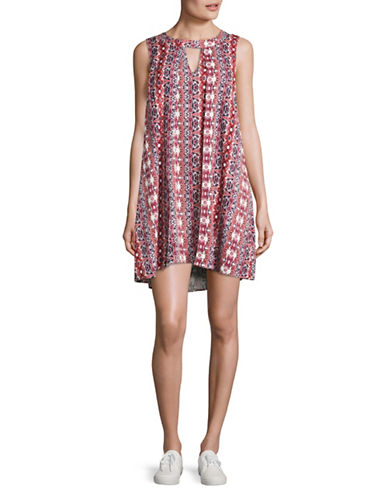Jack By Bb Dakota Printed Keyhole Dress-MULTI-Medium