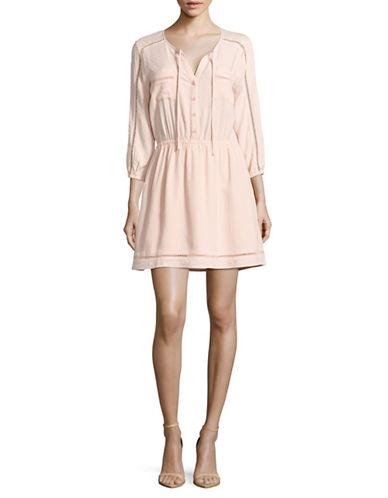 Jack By Bb Dakota Textured Dress with Ladderwork-PINK-Medium